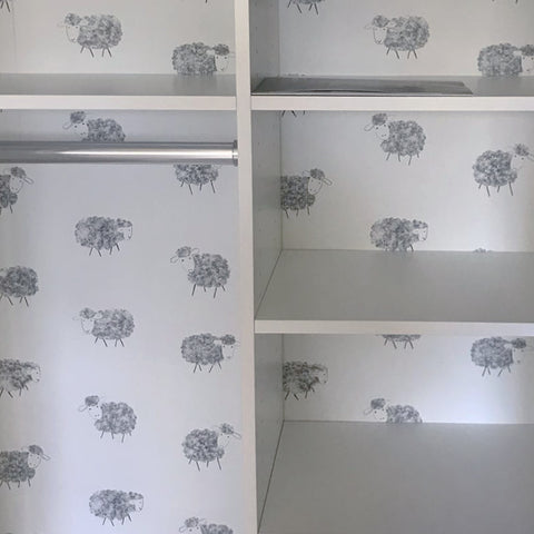 stil haven nursery room decor sheep wallpaper grey