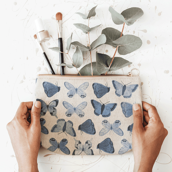 Stil Haven Blue Butterfly Print Makeup Bag