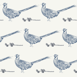 blue pheasant pinecone country home non woven wallpaper - stil haven