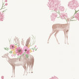 Stil Haven woodland deer stag flower wallpaper