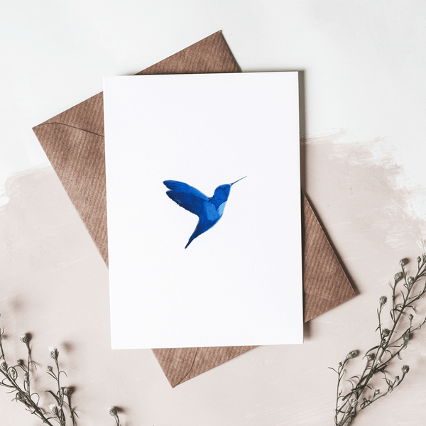 Stil Haven blue hummingbird greeting card