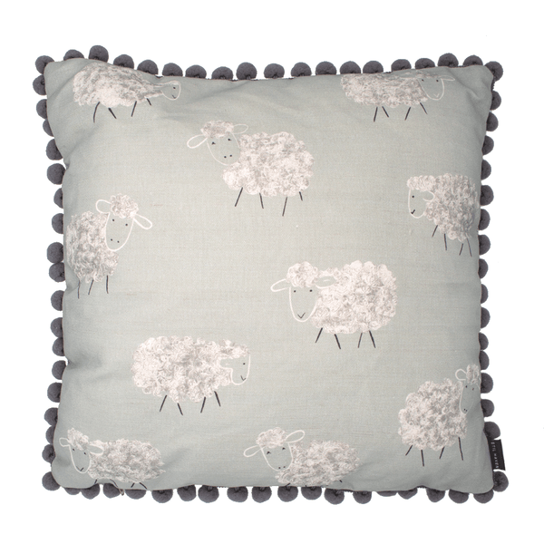 duck egg sheep cushion pompom trim - stil haven