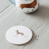 Sausage Dog Ceramic Coasters, x2