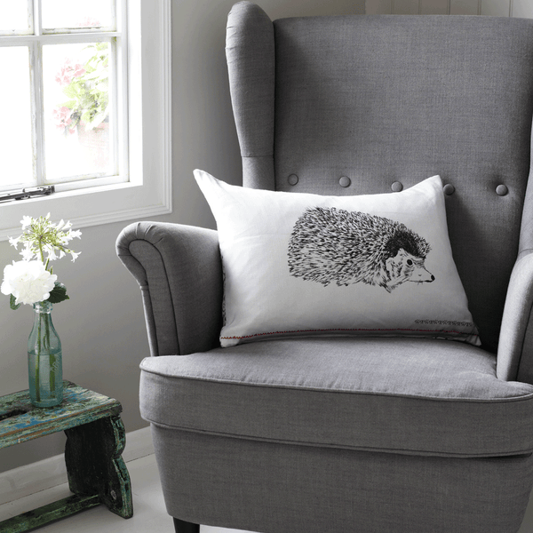 grey hedgehog woodland animal fair isle print cushion, british gifts, country home cushion and pillow - stil haven
