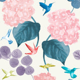 hydrangeas and hummingbirds shabby chic wallpaper