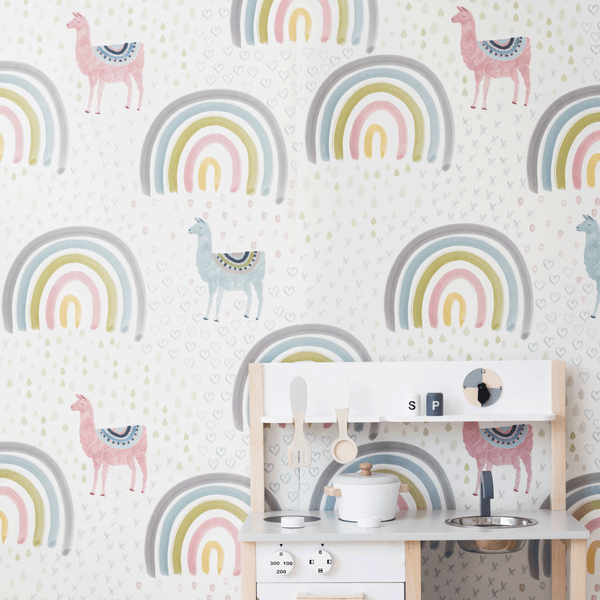 stil haven llamas and rainbows wallpaper kids room nursery