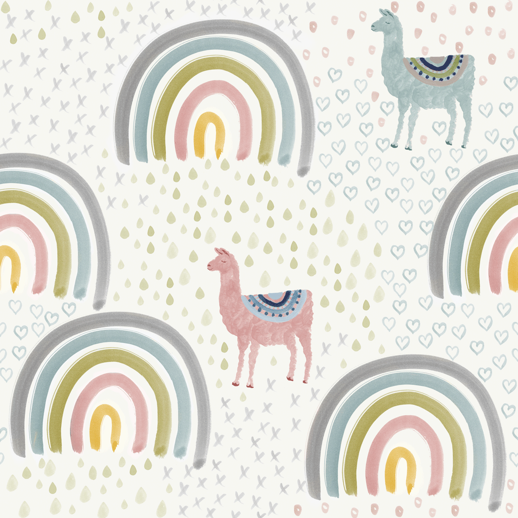 Llamas Rainbows Wallpaper Personalised Wallpaper Kids