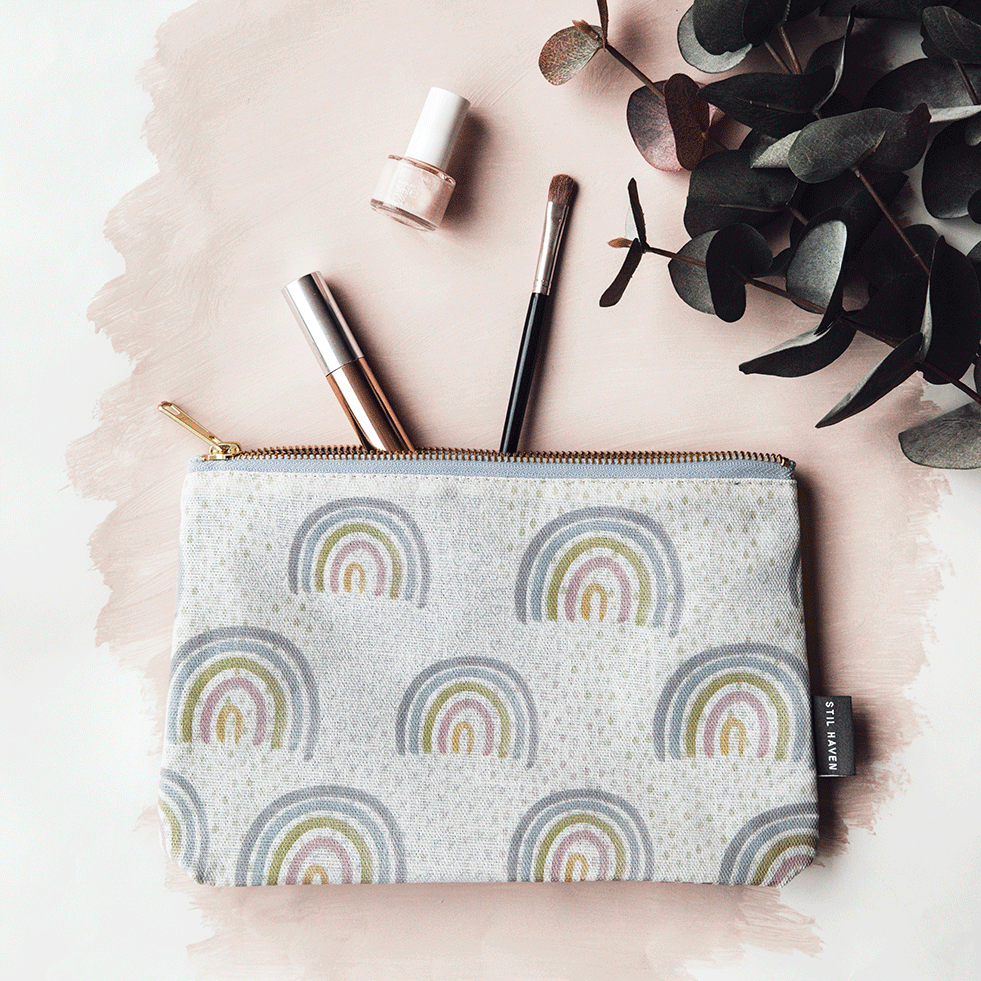 rainbow print makeup bag