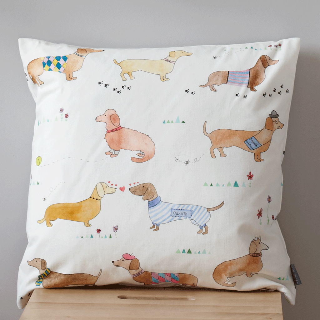 cotton sausage dog hand painted cushion, dog lover gift, dog cushion - stil haven