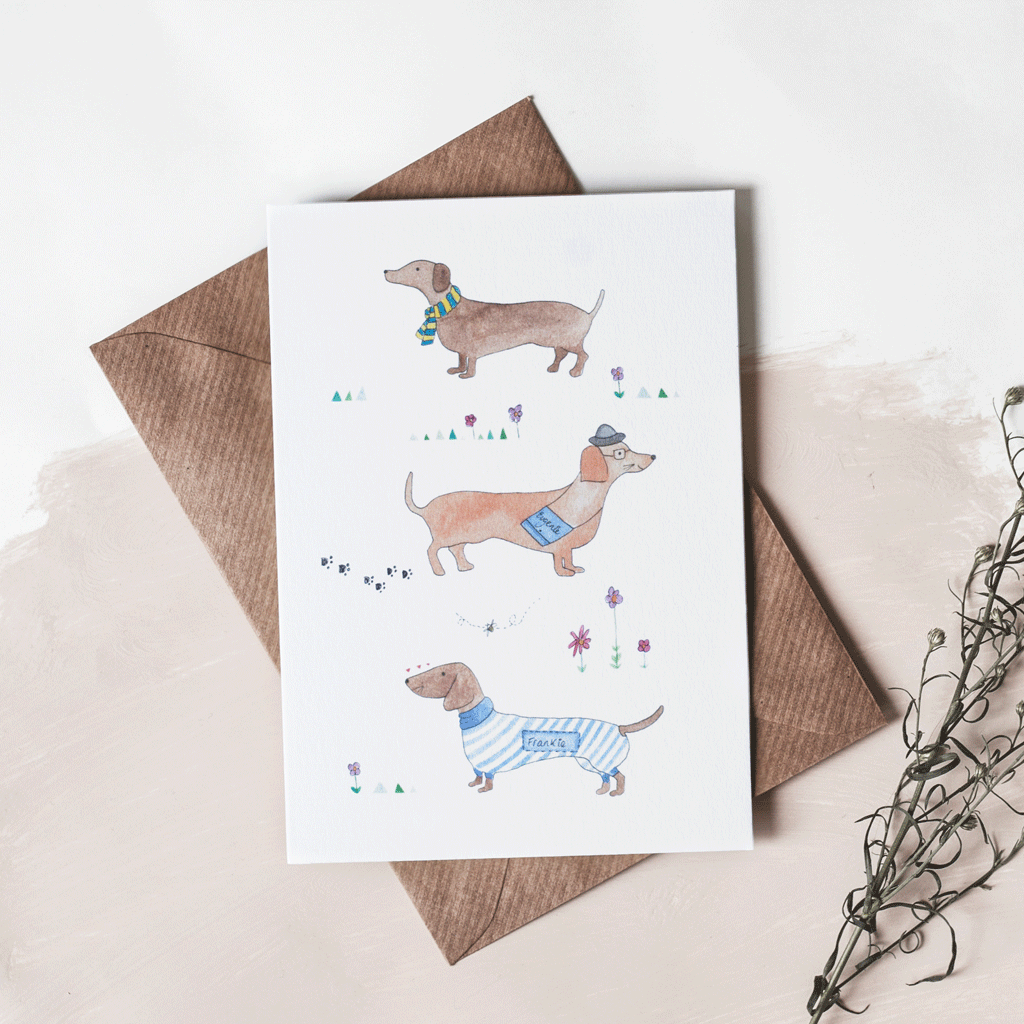 Stil Haven sausage dog greeting card