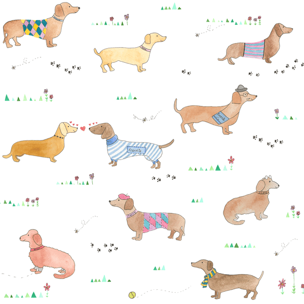 sausage dog wallpaper, dachshund wallpaper, dog wallpaper, dog decor - stil haven