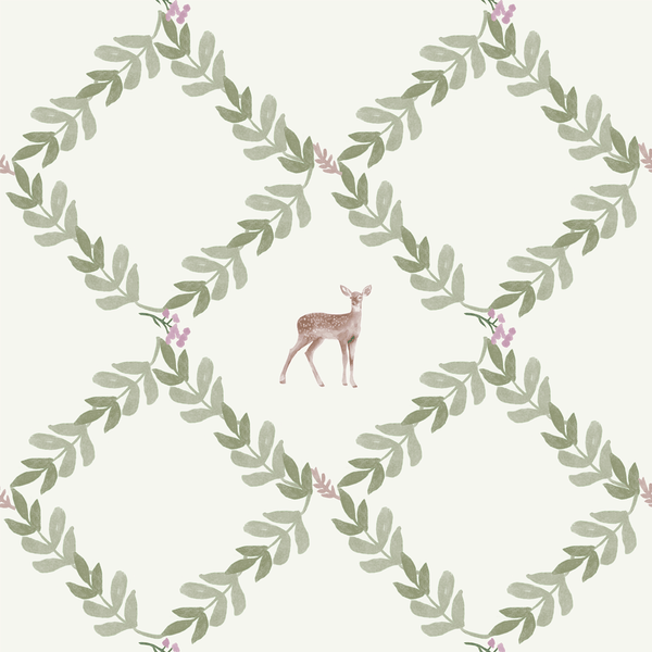 Stil Haven wild fern deer print diamond wallpaper