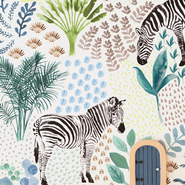 stil haven zebra print wallpaper nursery and kids room