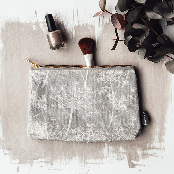 cow parsley dandelion print makeup bag