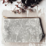 cow parsley print dandelion pattern wash bag