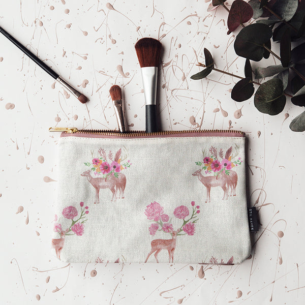 woodland wonder stag deer floral makeup bag