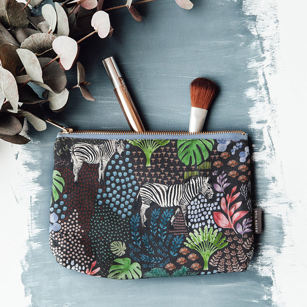 zebra print wash bag