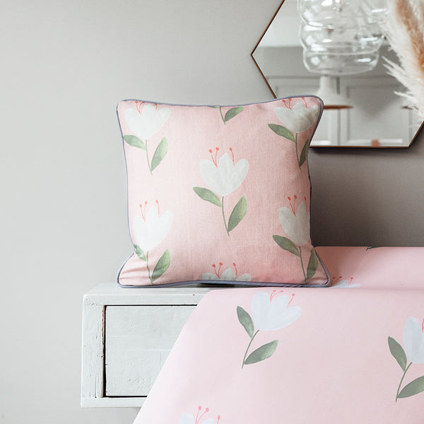 cottage tulip blush floral cushion