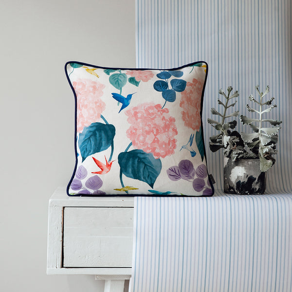Hydrangea + Hummingbirds Cushion