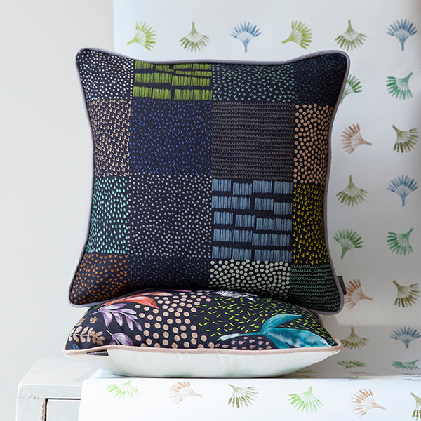 savannah pattern scandi black cushion