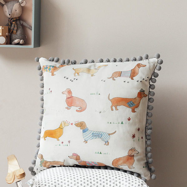 sausage dog print cushion - stil haven