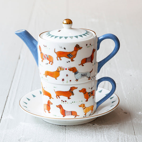 sausage dog teapot gift set