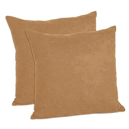 Faux Suede Decorative Pillow Shams Solid Colors (Set of 2)