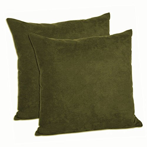 "Multiple Colors - Faux Suede Decorative Pillow Shams Solid Colors (Set of 2) (20""x20"", Olive)"