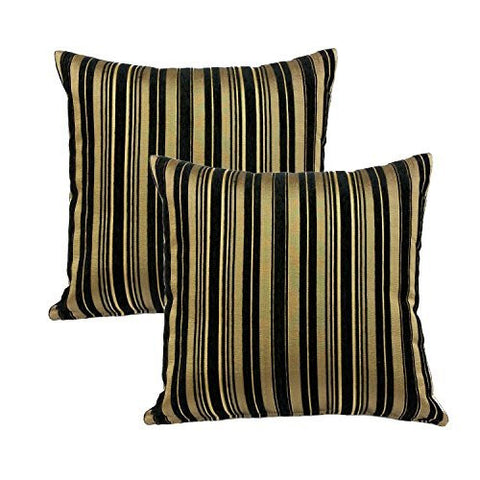 "MoonRest - Stripe Decorative Pillow (Set of 2) (18""x18"", Cool Black)"