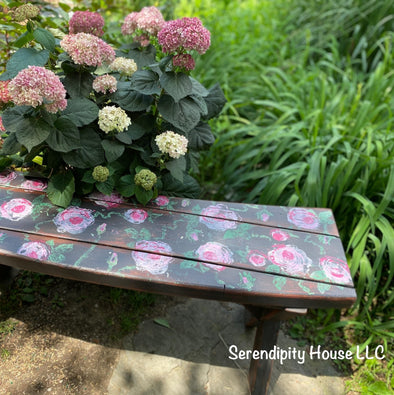 Rustic Wood Bench Meets IOD Painterly Roses Stamp and DIY Paints