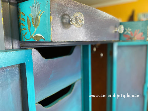 DIY Mermaid Tail on side of drawer with flower