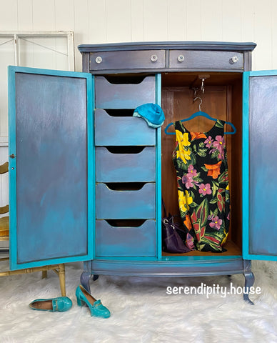 Blended paint inside wardrobe doors and on drawers