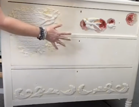 IOD-Moulds-Air-Dry-Clay-and-decor-transfers-dresser-makeover