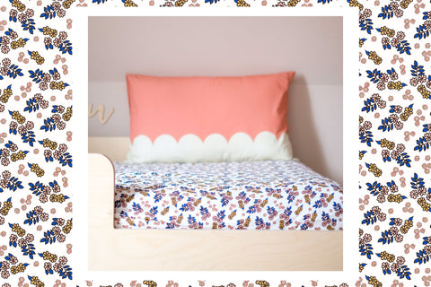 Moozle single bed fitted sheet and scallop pillowcase