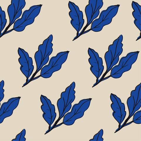 2 Piece Duvet Set - Blue Leaves reversible