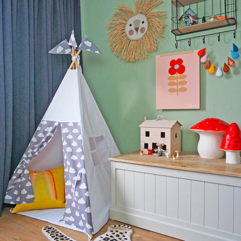Reg Teepee | White + Cloud Design - POLES INCLUDED