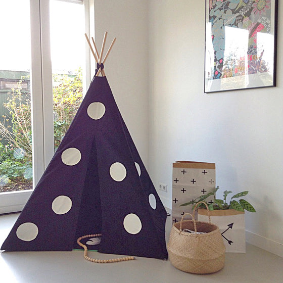 MIDI Teepee Black Canvas | White Polka