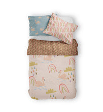 Load image into Gallery viewer, Moozle bedding set Swans and Rainbows organic cotton childrens duvet set