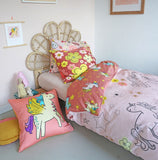 5 Piece Children's organic cotton Duvet Set - Unicorn Doodle Design