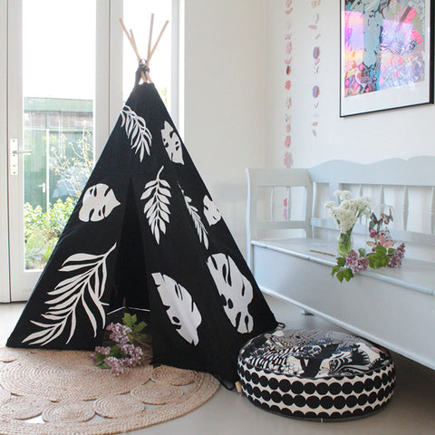 MIDI Teepee Black Canvas | White Leaves