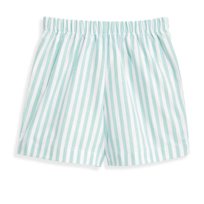 bella bliss Printed Boy's Play Shorts | Green Wide Oxford Stripe
