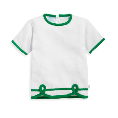 bella bliss Short Sleeve Sweater | White & Green