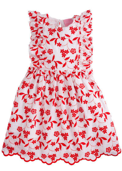 Bisby Diana Dress | Red Floral Embroidery