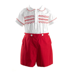 Rachel Riley Red Smocked Set