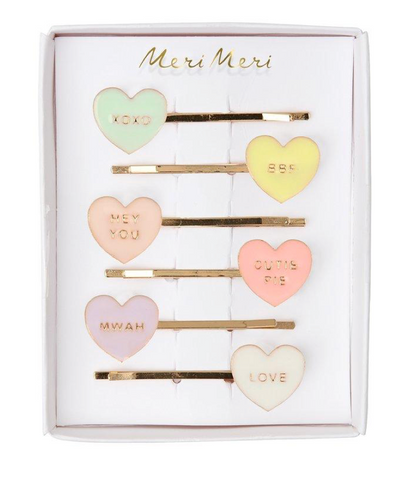 Meri Meri Hair Slides | Enamel Love Hearts