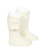 Perle Knee-High Socks with Pom Poms (more colors available)