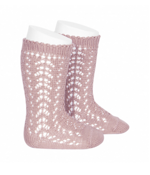 Perle Openwork Crochet Knee-High Socks (more colors available)