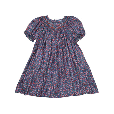 Luli & Me Floral Smocked Navy Bishop