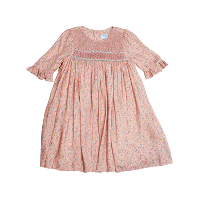 Luli & Me Smocked Pink Floral Dress