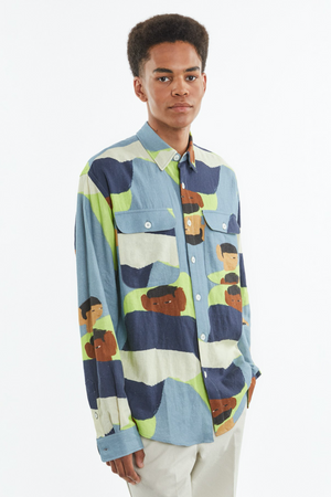 Shirt boxy people print dusty blue/acid green